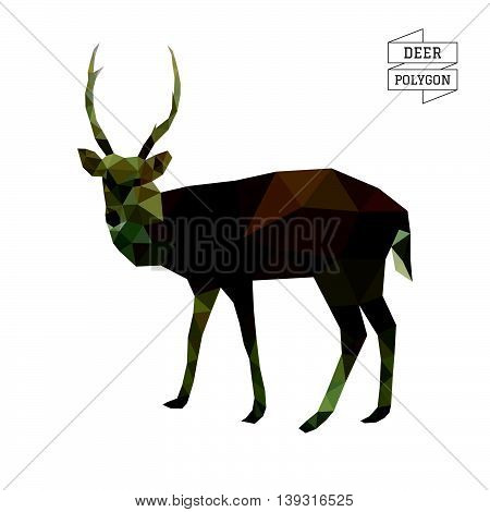 Deer polygon vector on white color background