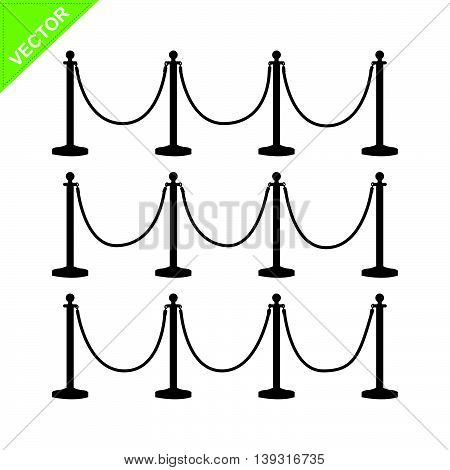 golden pole barricade silhouette vector on white color background