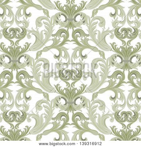 Vector damask pattern ornament. Exquisite Baroque element template. Classical luxury fashioned damask ornament Royal Victorian texture for textile wrapping. Lint green color
