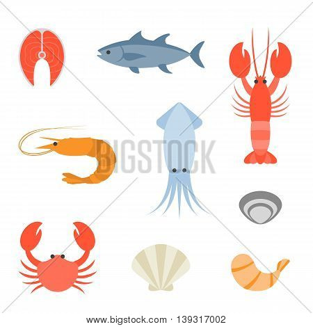 Vector seafood icon set on white background