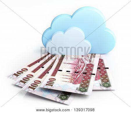 Cloud computing concept, Saudi riyal. 3d rendering.