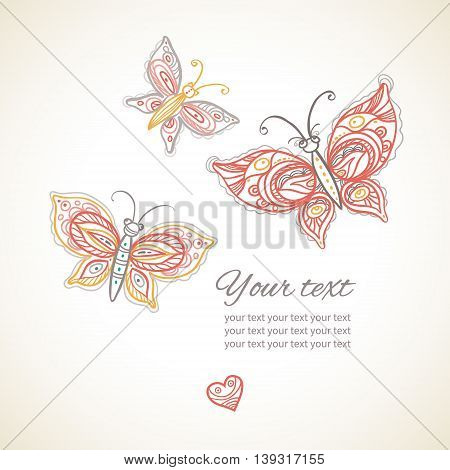 Big lacy butterflies and heart. Decor for your text. It can be used for decorating of wedding invitations greeting cards decoration for bags and at tattoo creation.