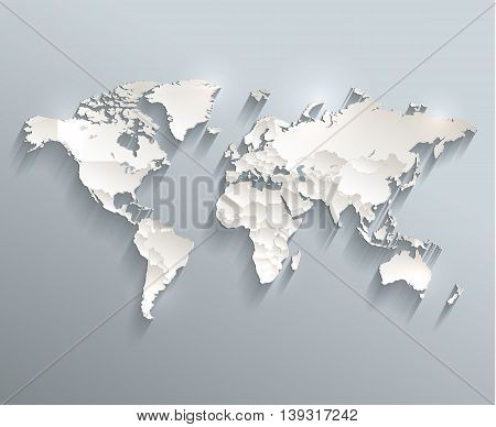 World political map 3D raster individual states separate