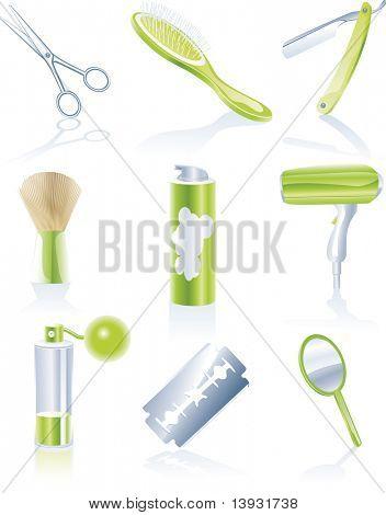 Raster version hairdresser accessories icon set