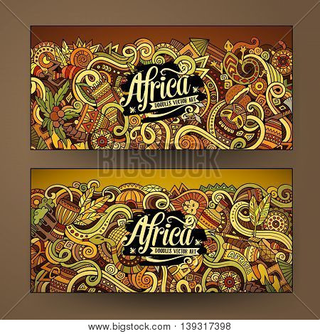 Cartoon cute colorful vector hand drawn doodles Africa corporate identity. 2 horizontal banners design. Templates set
