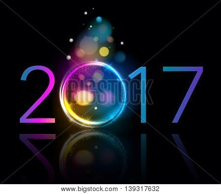 Colorful glow 2017 new year blur background vector illustration. Calendar greeting card design typography template. Round frame with shining stars and sparkles with bokeh.