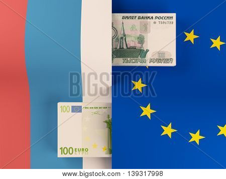 Money transfer between Russia and European Union. 3d rendering.