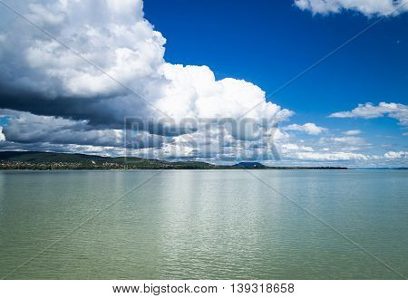 Clouds reflections above the Balaton lake, summer 2016, Hungary