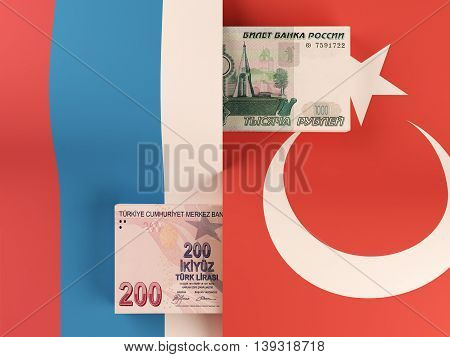 Money transfer between Russia and Turkey. 3d rendering.