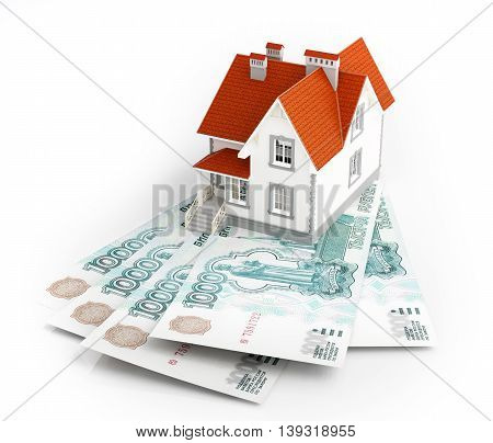 Russian rubles banknotes under house. 3d illustration.
