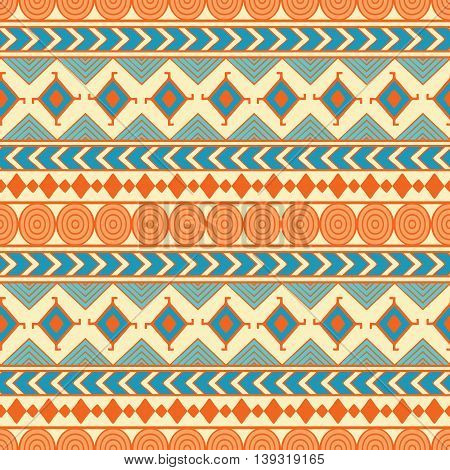 Tribal seamless vector pattern. Ethnic abstract geometric background. Reapiting ornament in ethno style for wallpaper wrapping paper scrapbooking or textile design.