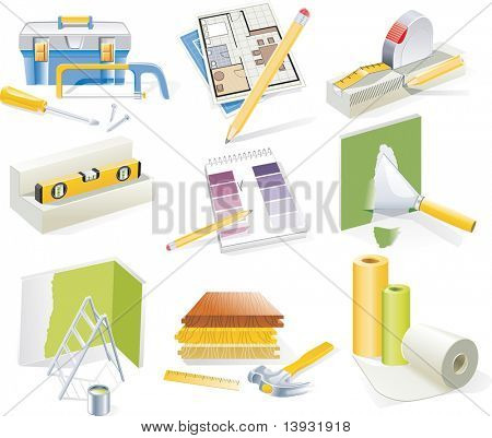 Raster version of home renovation and redesign icon set