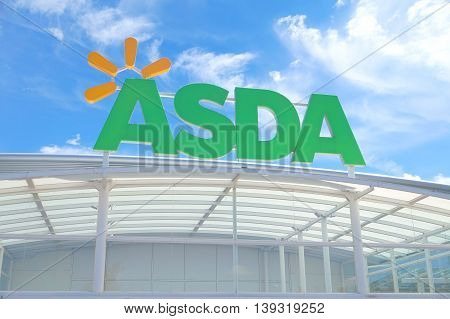 Basingstoke, Uk - July 20, 2016: Store Front Of The Asda Supermarket In Brighton Hill
