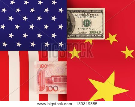 Money transfer between United States and China. 3d rendering