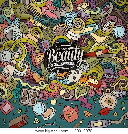 Cartoon cute doodles hand drawn cosmetics frame design. Line art detailed, with lots of objects background. Funny vector illustration. Colorful border with beauty theme items