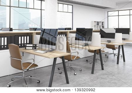 Modern office room with several tables and computers. Big windows. Folders on shelves. Concept of business. 3D render. Mock up.