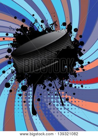 Hockey Puck On Background With Rays