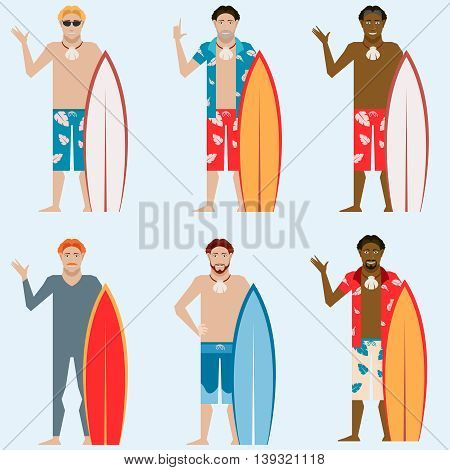 Vector image of the set of flat surfers