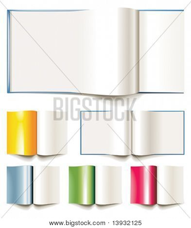 Set of vector blank books, brochures or magazines opened