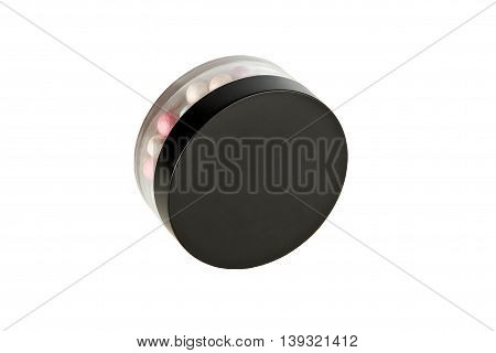 Face Powder Pearls, in packaging, isolated on white