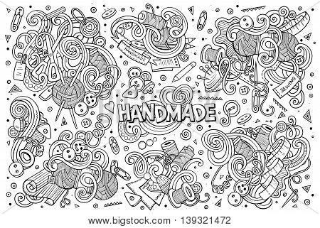Line art vector hand drawn doodle cartoon set of handmade objects and symbols designs.