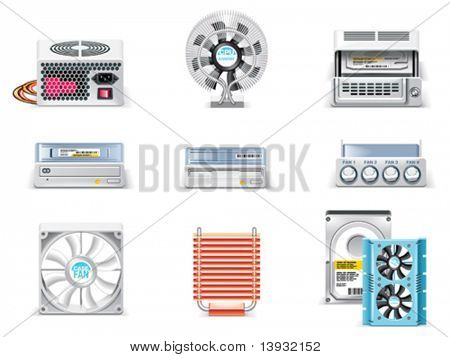 Vector white computer icon set. Part 5. Computer parts