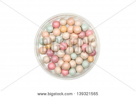 Face Powder Pearls Isolated on White background