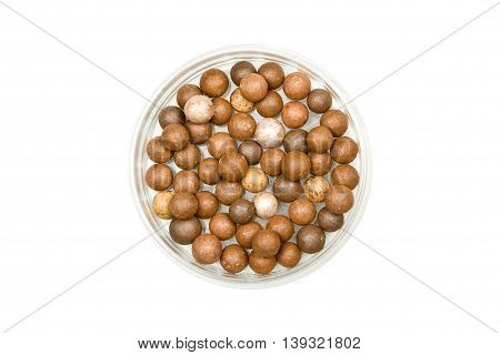 Face Powder Pearls (Ball-Powder) Isolated on White background