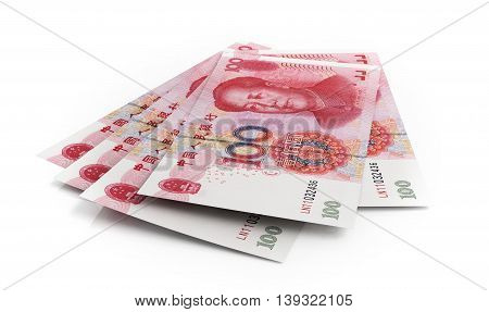 Chinese yuan banknotes on white background. 3d illustration.