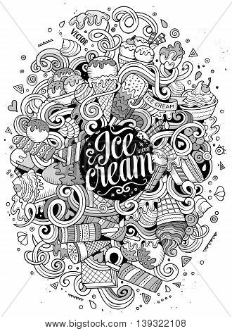 Cartoon cute doodles hand drawn ice cream illustration. Sketchy detailed, with lots of objects background. Funny vector artwork. Line art picture with ice-cream theme items