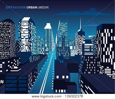 Vector illustration of architectural buildings in perspective view. Night.