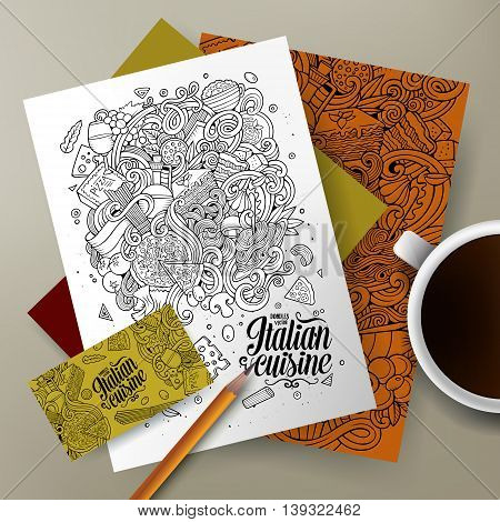 Cartoon cute line art vector hand drawn doodles Italian food corporate identity set. Templates design of business card, flyers, posters, papers on the table.