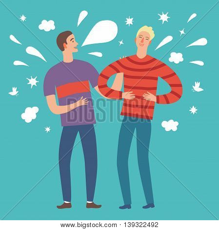 Isolated cartoon male friends telling funny joke. Including decorative background with clouds stars splash bubbles. Characters illustrations for your design.