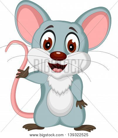 happy mouse cartoon posing for you design
