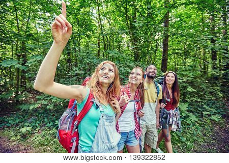 adventure, travel, tourism, hike and people concept - group of smiling friends with backpacks pointing finger up in woods