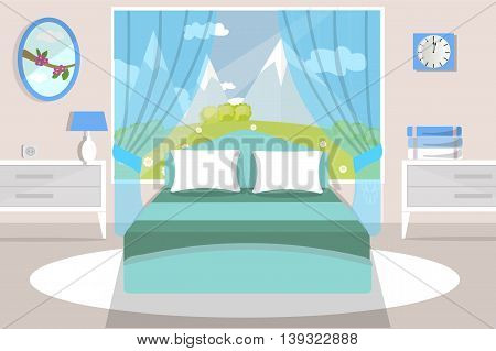 Bedroom interior, furniture, bed, dresser, curtains, lamp, pillow, towel, carpet,vector illustration