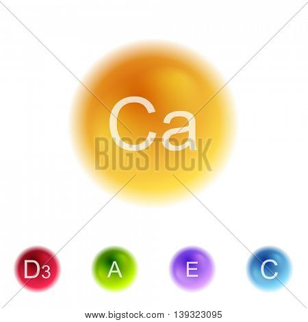 Vitamins colorful balls abstract background. Vector health design
