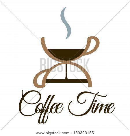 Vector illustration of coffee time logo design.