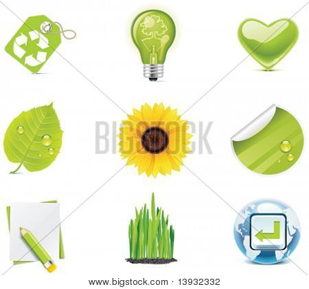 Ecologia icon set vector. Parte 4