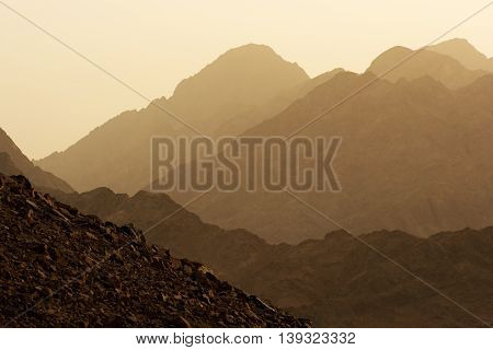 Beautiful Desert mountains of Egypt on sunset.