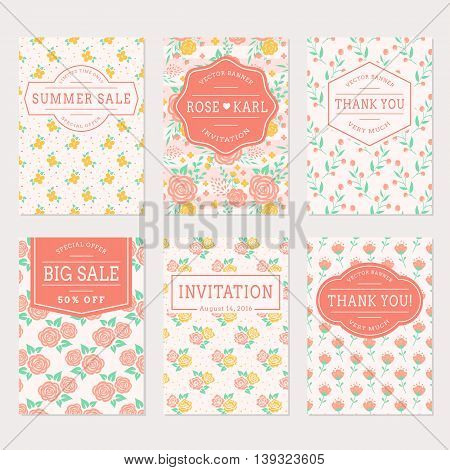 Set of cute banners with floral background. Wedding invitations thank you cards and sale labels. Vector templates collection in white pink yellow and turquoise colors.