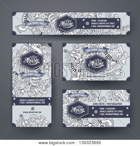 Corporate Identity vector templates set design with doodles hand drawn musical theme. Line art banner, id cards, flayer design. Templates set