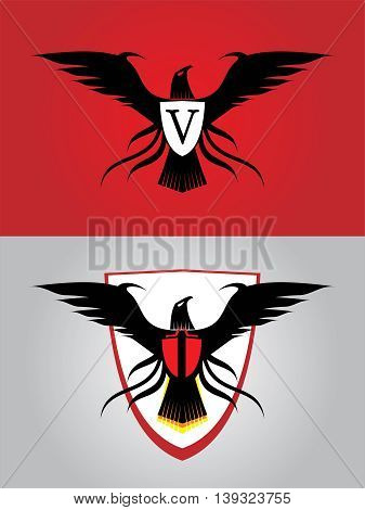 black eagle. 'V' on the shield symbolizing Victory Viva. or replace it with your initial company community etc.