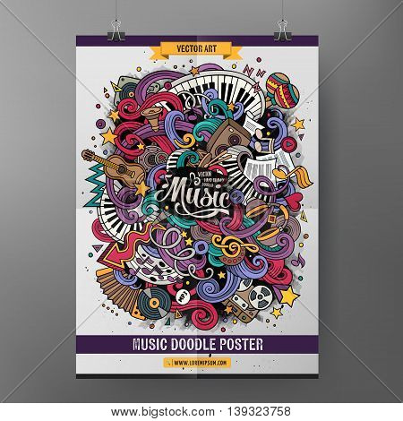 Cartoon colorful hand drawn doodles musical poster template. Very detailed, with lots of music objects illustration. Funny vector artwork. Corporate identity design.