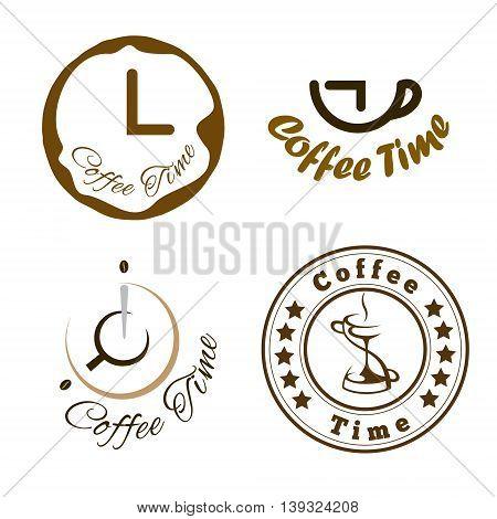 Set of coffee time logo design. Vector illustration.