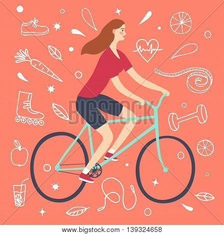 Cartoon girl riding a bicycle. Including doodle decorative elements such as food sport equipment and health symbols. Healthy lifestyle illustration for your design.