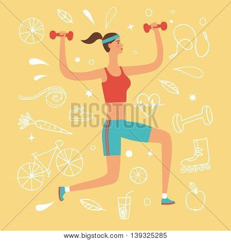 Cartoon girl doing exercise with weights. Including doodle decorative elements such as food sport equipment and health symbols. Healthy lifestyle illustration for your design.