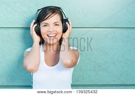 Beautiful Girl Having Fun With Headphones On