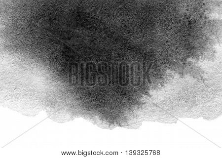 Abstract Hand Painted Grayscale Watercolor ink spot. Watercolour Splash texture. Blck and white color