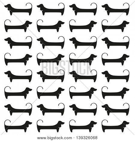 Dachshunds. Pattern. Black dogs silhouettes isolated on white background. Vector illustration.